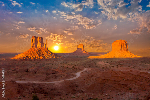 monument valley sunset clouds Canvas Print