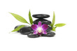 zen stones with pink orchid and bamboo leaf on white background