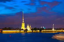 Peter And Paul Fortress In Night
