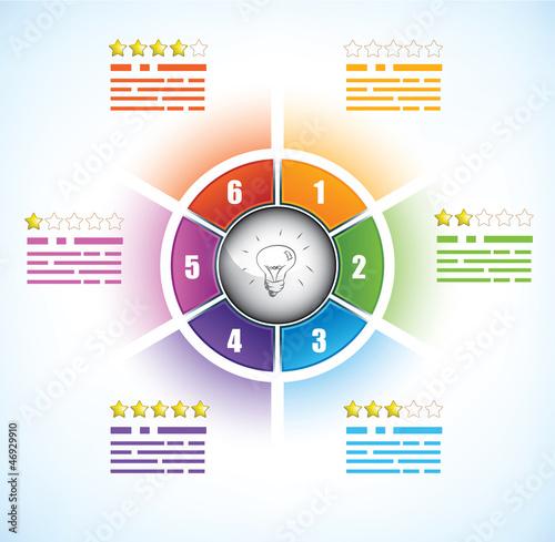 Photographie  Modèle de diagramme Buiness avec six parties