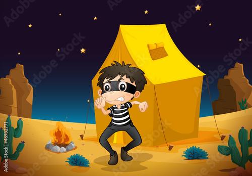 Fotobehang Indiërs a tent house and a boy