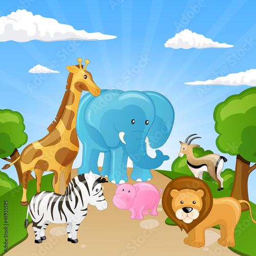 Foto op Aluminium Zoo Vector Set of African Cartoon Animals