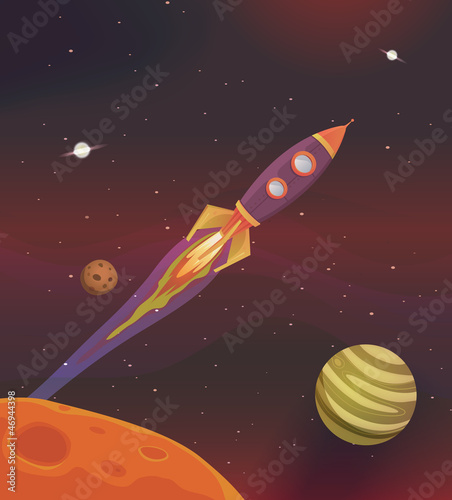 Spoed Foto op Canvas Kosmos Cartoon Spaceship Flying Into Galaxy