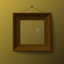 Realistic Retro Frame With Spiderweb, Illustration