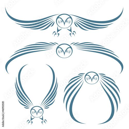 Canvas Prints Owls cartoon Flying owls tattoo