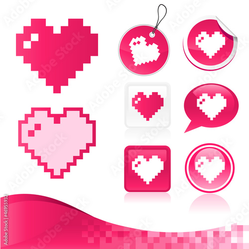 Tuinposter Pixel Pixel Heart Design Kit