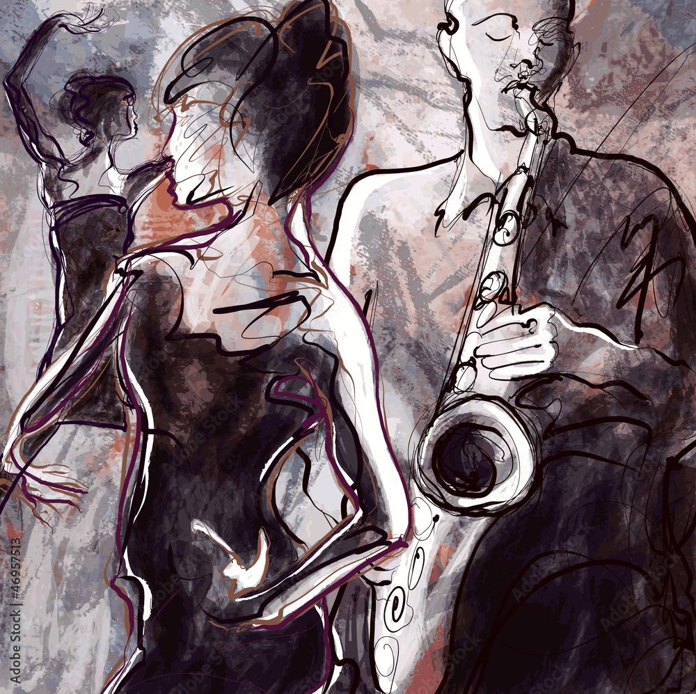 Fototapety, obrazy: Jazz band with dancers