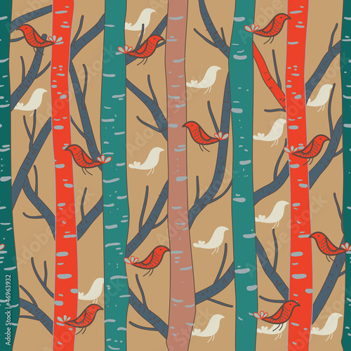 Canvas Prints Birds in the forest Forest