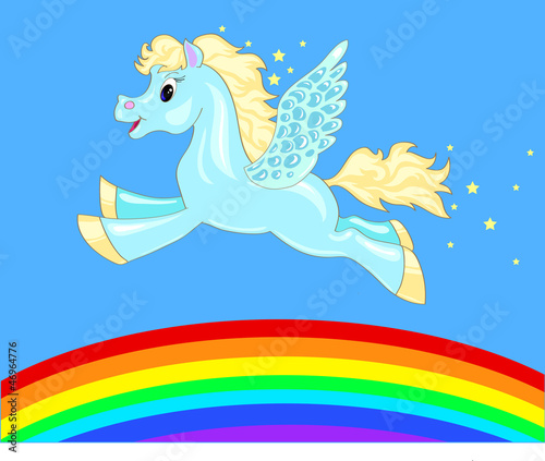 Deurstickers Pony flying horse over the rainbow