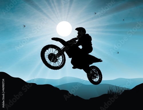 Poster Motorcycle Motorsport in sunset background