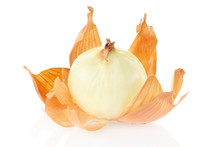Onion Peeled On White Background, Clipping Path Included