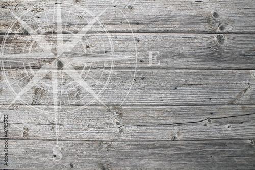 Photo Stands Ship weiße Windrose auf Holz