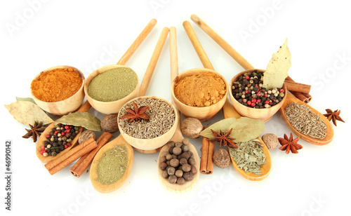 Photo Stands Herbs 2 wooden bowls and spoons with spices isolated on white