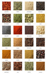 Fototapeta Przyprawy Different spices isolated on white background. Large Image