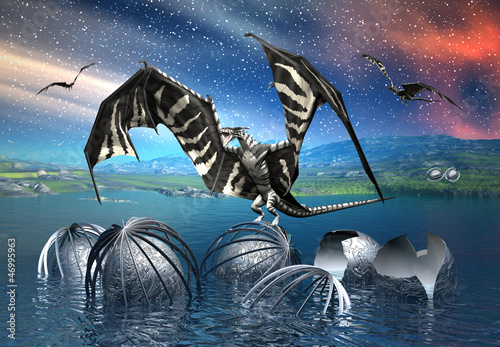Aluminium Prints Dragons Dragon - Fantasy Scene
