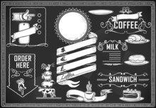 Chalk Blackboard Vector Food Vintage Typography Graphic Elements For Bar Or Restaurant Style