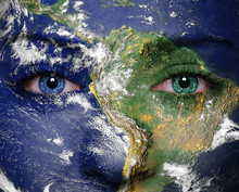 Earth Painted On Face. Element...