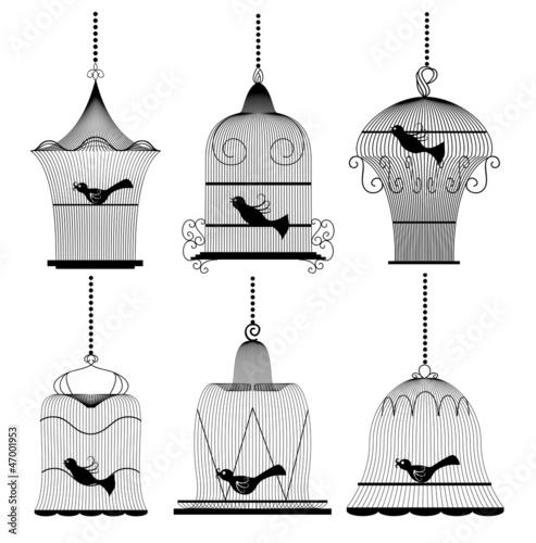 In de dag Vogels in kooien Vintage bird cage set