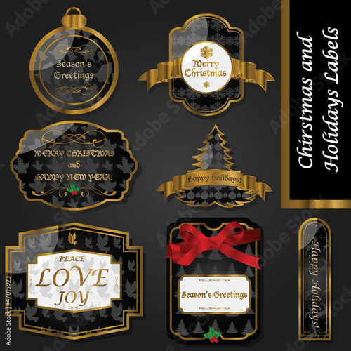 Fototapety, obrazy: Gold and black vintage Christmas labels