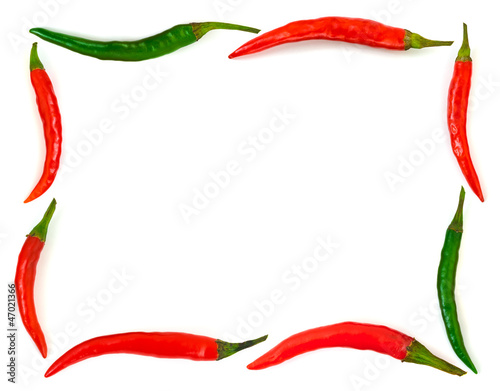 Staande foto Hot chili peppers Frame made of red hot chili pepper