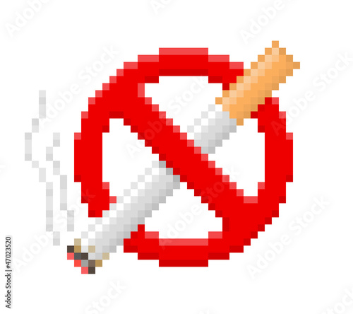 Tuinposter Pixel Pixel no smoking sign. Vector illustration.