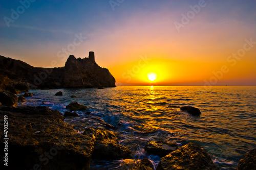 Slika na platnu Sunrise on the watchtower