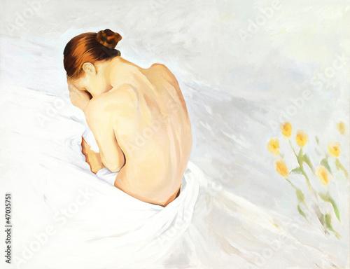 smutna-placz-dziewczyna-w-lozkach-malarstwo-ilustracja