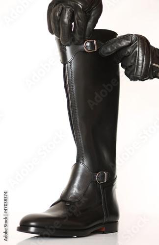 Schwarzer Stock Lederhandschuhen This Mit Lederstiefel Buy fgyb76