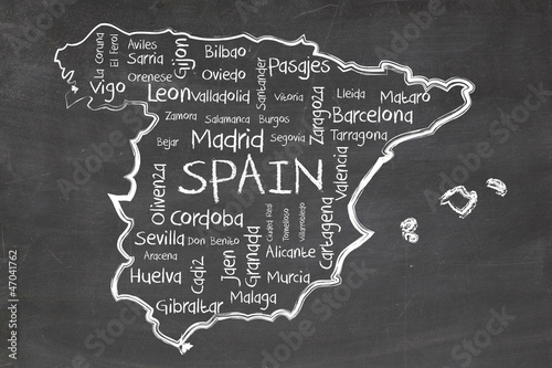 Canvas Print spain on blackboard