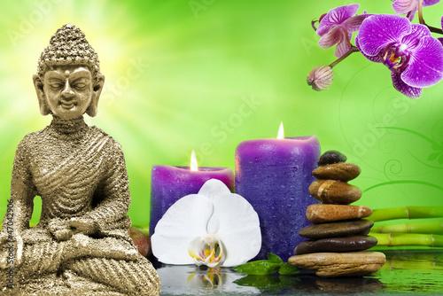 Buddha Mi Orchidee Violett Mit Bambus Und Kerzen Und Steinen Buy