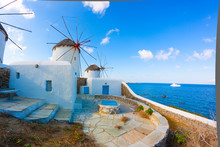 Panoramic View Of Two Windmill...