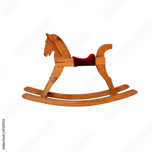 Fotografía  wooden rocking horse chair children on white background