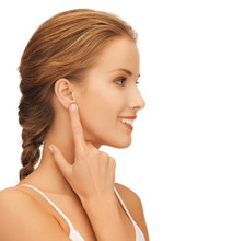 Woman Pointing To Ear