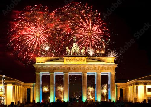 Foto op Aluminium Berlijn Berlin, Brandenburger Tor, Feuerwerk, Silvester