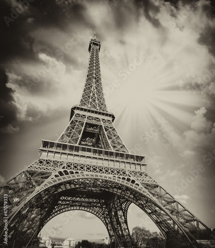 Dramatic view of Eiffel Tower with Sky on Background #47079333