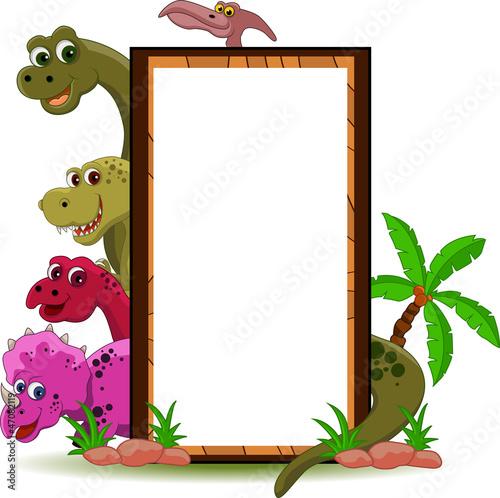 Keuken foto achterwand Dinosaurs funny dinosaur cartoon with blank sign