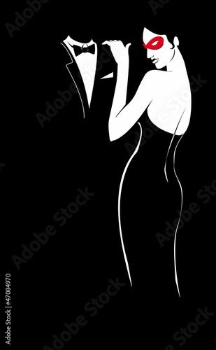 Keuken foto achterwand Rood, zwart, wit Lady in mask