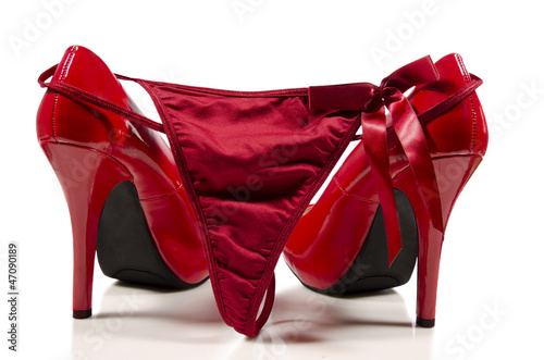 Fotografia Red high heels and g-string