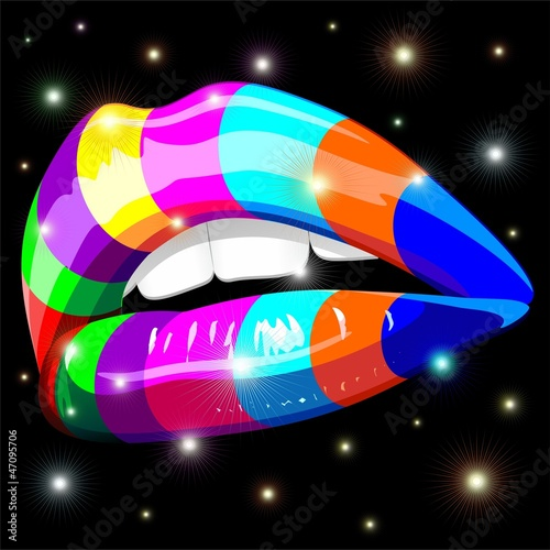 Photo Stands Draw Sensual Lips Psychedelic Rainbow-Bocca Sensuale Arcobaleno
