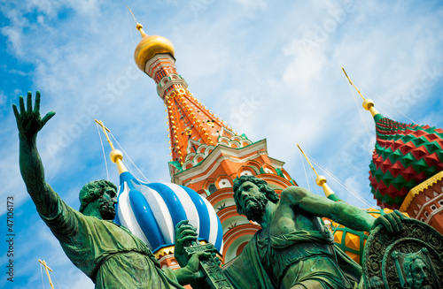 Monument to Minin and Pozharsky on the Red Square in Moscow Russ плакат