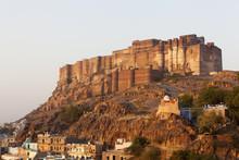 Mehrangarh Fort In Jodhpur, Rajasthan At Sunrise.