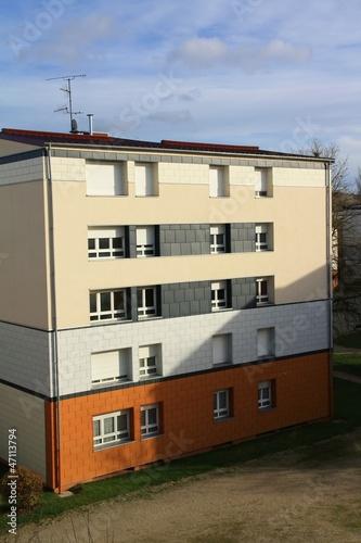 Fotografia, Obraz  Chantier façade lotissement toiture maisons, hlm, ouvriers 2013