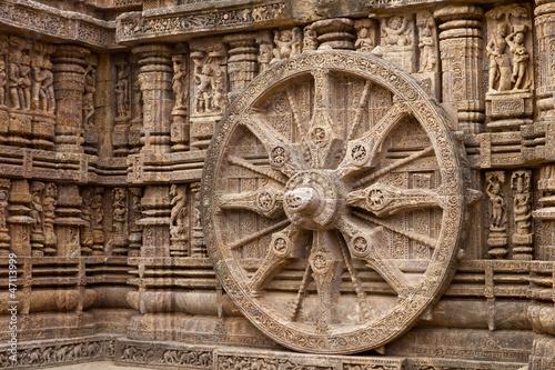 Obraz na plátně Chariot Wheel, Konark Sun Temple, Orissa.