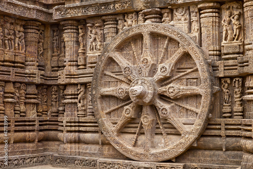 Fotografie, Obraz  Chariot Wheel, Konark Sun Temple, Orissa.