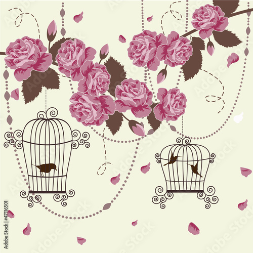 Poster Birds in cages Roses and birds in cages