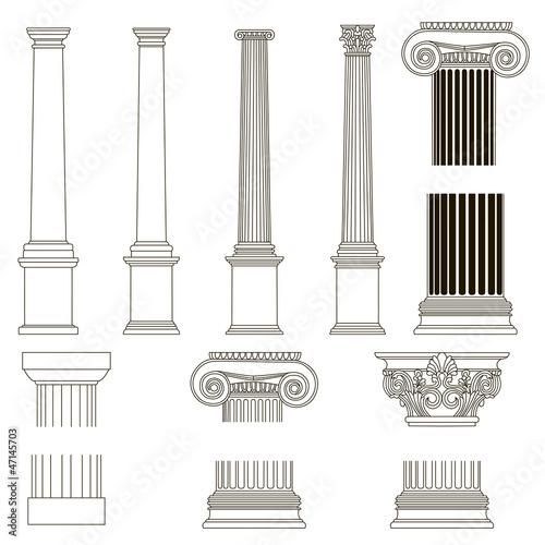 Fotografie, Obraz  ionic column with greek key pattern