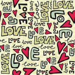 Fototapeta Do pokoju miłość i serca kolorowe retro graffiti na jasnym tle