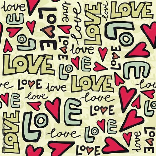 miłość i serca kolorowe retro graffiti na jasnym tle - 47149143