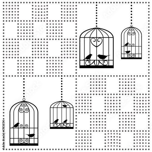 Deurstickers Vogels in kooien vögel im käfig