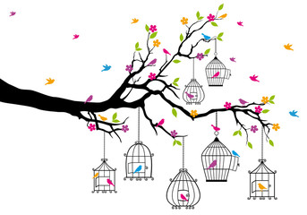 Fototapeta Drzewa tree with birds and birdcages, vector
